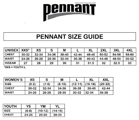 Pennant Sportware Sizing